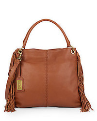 Badgley Mischka Gaia Leather Fringed Crossbody Bag