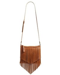 Junior Layered Fringe Crossbody Bag Brown