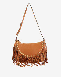 Valentino Medallion Fringe Hobo Tan