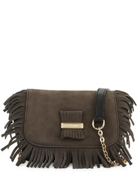 Rosita mini fringe leather crossbody bag graphite medium 736111
