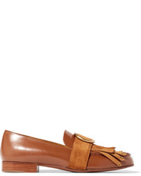 Chloé Olly Fringed Suede Trimmed Embellished Leather Loafers Tan