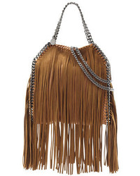 Falabella mini fringe tote bag tan medium 650355