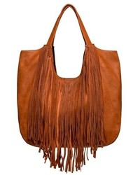 Fringed masterpiece tote brown medium 731569