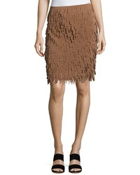 Brunello Cucinelli Techno Feathers Midi Skirt Brown