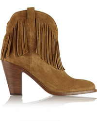 Brown Fringe Suede Ankle Boots