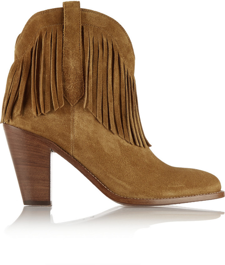 undefeated x hot new products clearance prices $1,195, Saint Laurent New Western Fringed Suede Ankle Boots Tan