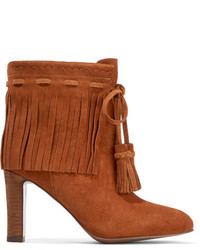 See by Chloe See By Chlo Fringed Suede Ankle Boots Tan