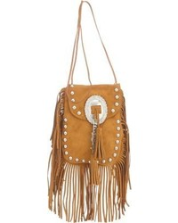 Brown Fringe Suede Crossbody Bag