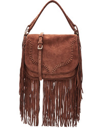 Suede shoulder bag with fringe medium 808979