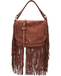 Suede shoulder bag with fringe medium 808979