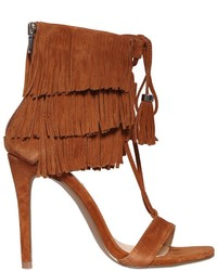 100mm fringed lace up suede sandals medium 561890