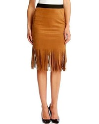 Faux suede midi pencil skirt with fringe medium 318493