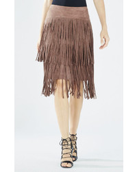 Rashell faux suede fringe pencil skirt medium 318494