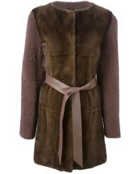 Liska Contrasting Front Belted Coat