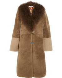Saks potts febbe bertha shearling coat brown medium 1317011