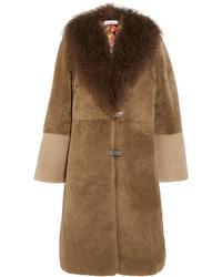 Saks Potts Febbe Bertha Shearling Coat Brown