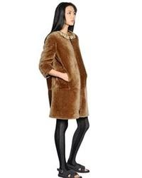 Marni Shearling Fur Coat Wembellished Collar