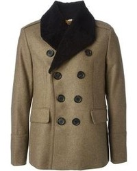 Burberry London Faux Fur Trimmed Collar Double Breasted Coat