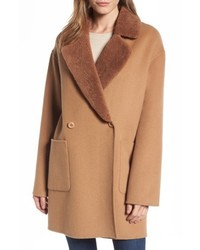 Trina Turk Dawn Genuine Shearling Collar Double Face Coat