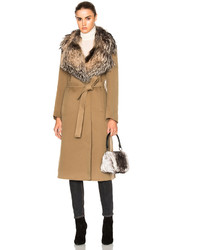 Yves Salomon Fox Fur Collar Cashmere Coat