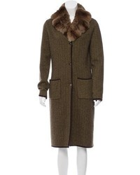 Loro Piana Fur Trimmed Cashmere Coat