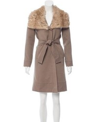 J. Mendel Fur Trimmed Wool Coat