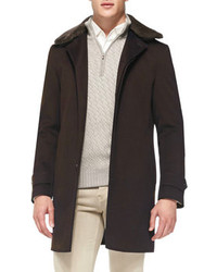 Loro Piana Hannover Single Breasted Cashmere Coat With Fur Collar Brown