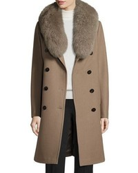Elie Tahari Long Double Breasted Pea Coat W Fox Fur Collar Musk