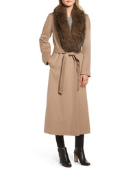 Fleurette Loro Piana Wool Shawl Collar Coat With Genuine