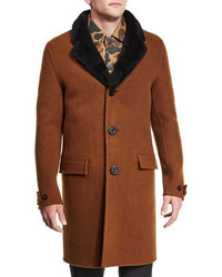 Burberry Prorsum Button Down Wool Coat With Shearling Fur Collar Dark Brown