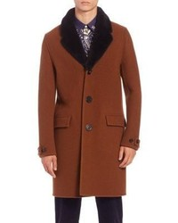 Burberry Prorsum Wool Shearling Collar Chesterfield Coat