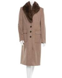 René Lezard Rene Lezard Fur Trimmed Cashmere Coat W Tags