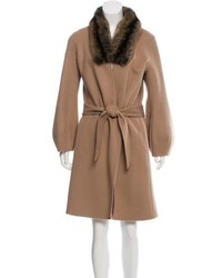 Giuliana Teso Shearling Sable Trimmed Coat