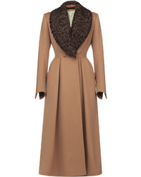 Ulyana Sergeenko Demi Couture Lamb Fur Collar Flared Coat