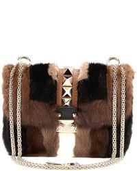 Glam lock mink fur shoulder bag brown medium 117656