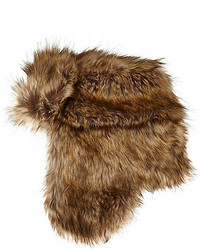 River Island Brown Faux Fur Trapper Hat