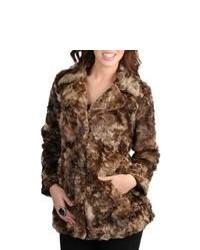 Santa Fe Apparel, LLC Mo Ka Brown Faux Fur Jacket