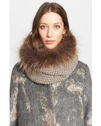 Fabiana Filippi Alpaca Knit Collar With Genuine Fox Fur Trim