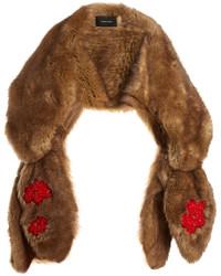 Simone Rocha Bead Embellished Bow Faux Fur Scarf