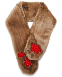 Simone Rocha Bead Embellished Faux Fur Scarf