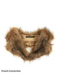 French Connection Lucy Scarf Brown Faux Fur