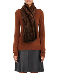 Barneys New York Knitted Mink Pull Through Scarf
