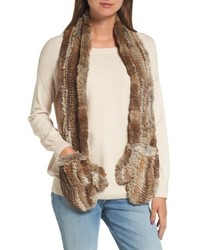 Love token genuine rabbit fur scarf with built in mittens medium 6465146