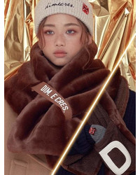 Unisex Reversible Fur Muffler Brown