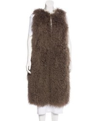 Tory Burch Leather Trimmed Shearling Vest