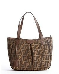 Brown and black canvas leather trim zucca pattern shopping tote medium 48792