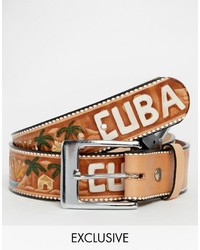 Brown Geometric Leather Belt