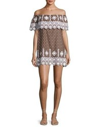 Miguelina Agnes Geometric Embroidered Cotton Dress Brown