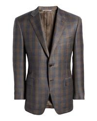 Canali Sienna Soft Classic Fit Plaid Wool Sport Coat