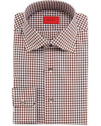 Brown Gingham Dress Shirt
